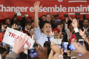 Liberal leader Trudeau waves during a campaign rally in Calgary